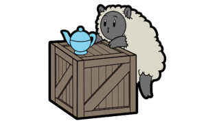a_sheep_a_teapot_and_a_wooden_crate